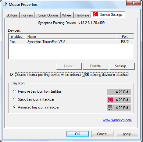 2. Haga clic en Device Settings (Configuración del dispositivo) en la parte superior y active la casilla Disable internal pointing device when external USB pointing device is