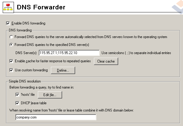 4. En DNS Forwarder, hay que seleccionar la segunda opción, Forward DNS queries to the specified DNS server, y poner el DNS del ADSL. 5. Le damos al botón de Edit file... de los hosts.