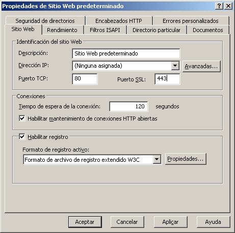 Instalar herramientas adjuntas 4 (Para Windows Server 2003 (IIS6)) 1 Visualice las propiedades del sitio Web para el que se va a instalar Gateway for Biometric Authentication Manager.