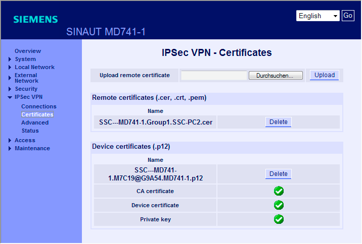 GETTING STARTED 3.5 Ejemplo 5: Acceso remoto - ejemplo de túnel VPN con MD741-1 y SOFTNET Security Client 3.