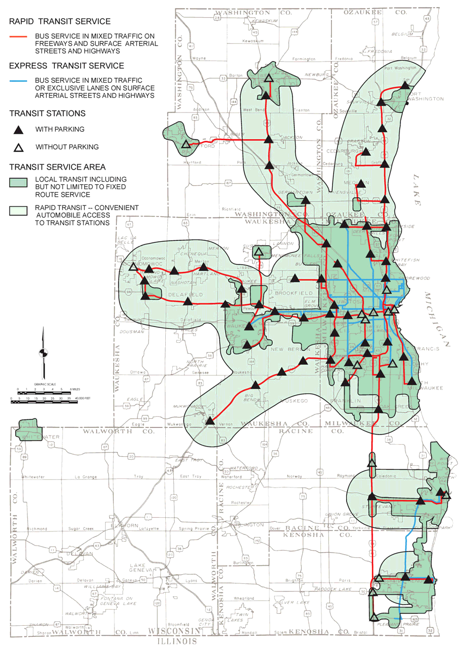 Rapid Transit The proposed rapid transit service would consist of buses operating over freeways between the ilwaukee central business district and outlying portions of the ilwaukee urbanized area and