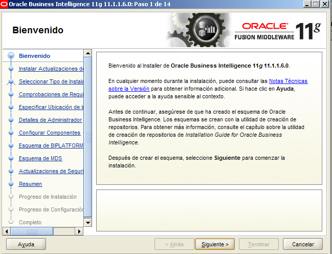 "Instalación de Oracle Business intelligence11g Verificar que este instalado el siguiente componente de Windows ""Microsoft Visual C++ 2005 Redistributable Package (x86)"", en caso de no tenerlo, se"