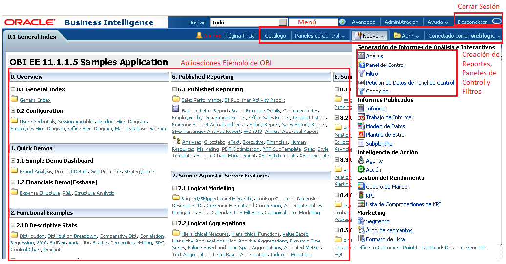 MANUAL DE USUARIO ORACLE BUSINESS INTELLIGENCE INGRESAR AL SISTEMA Para iniciar la Consola de Usuario de Oracle Business Intelligence dirigirse a la ruta: http://localhost:7001/analytics.