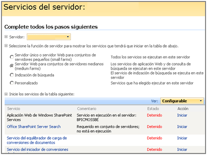 7.3 ARRANQUE DEL SERVICIO OFFICE SHAREPOINT SERVER SEARCH EN EL SERVIDOR DE ÍNDICES Hay que iniciar el servicio Office SharePoint Server Search en el servidor de índices: 1.