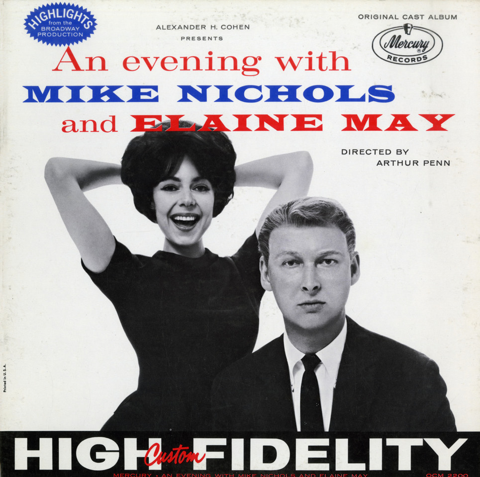 10 EL ABSURDO EN PRIME TIME An Evening with Mike Nichols and Elaine May, Mercury Records, 1960. Fotografía: Richard Avedon de ropa, le pide a su mujer que le prepare un dry martini.