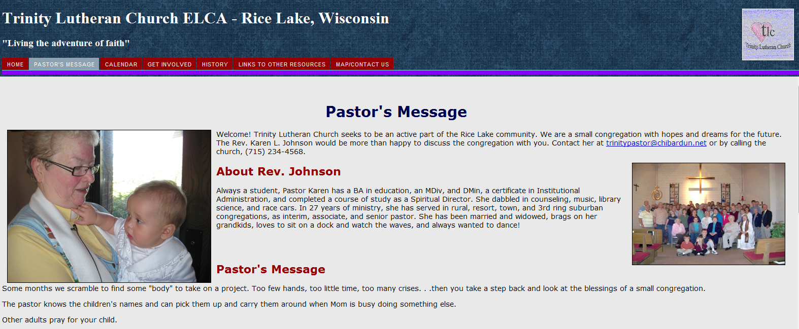 Design: Church Website www.trinityrl.org (2011 Information Architecture, Collaboration I designed and created a website for Trinity Lutheran Church in Rice Lake, Wis.