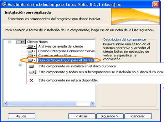 Figura 56 Modificación de Instalación de Lotus Notes 3.