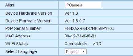 Sistema (System) Acerca de (About ) Funciones básicas e información del usuario Alias P2P Serial Number Device Hardware Version Device Firmware Version MAC Address Wi-Fi Status Nombre de la cámara
