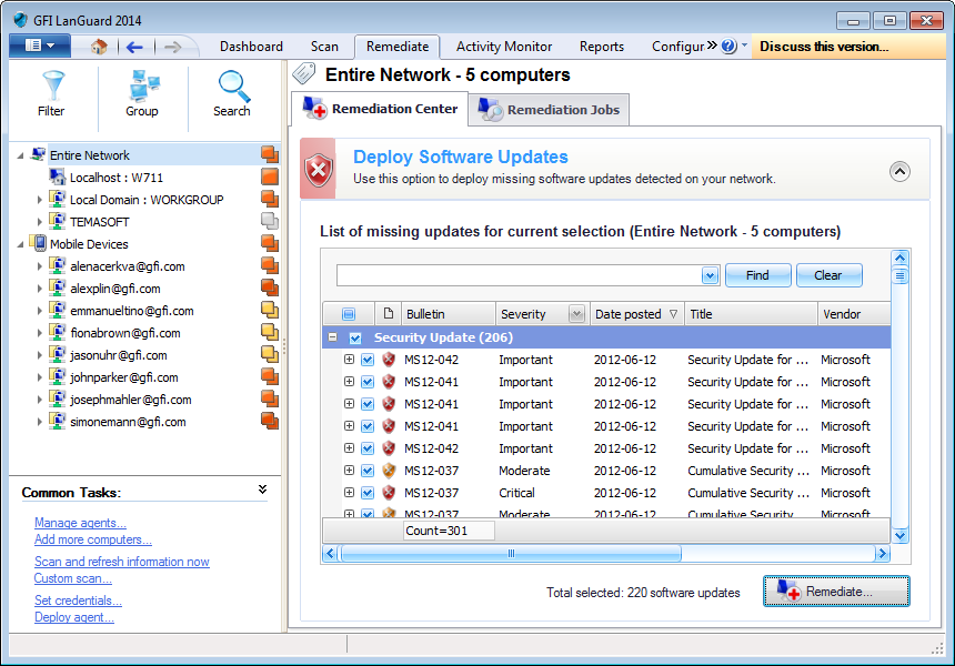 Captura de pantalla 103: Remediation Center: Deploy Software Updates 4.