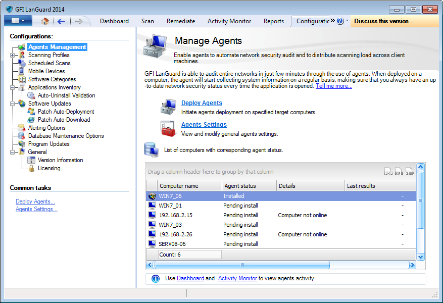 Captura de pantalla 9: Manage agents 3. En Common Tasks, haga clic en Deploy Agents para seleccionar los equipos de examen de destino y haga clic en Next.