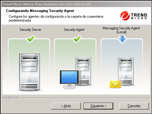 Instalar el servidor Para instalar el Messaging Security Agent remoto: 1.