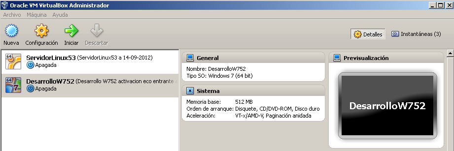 Windows 7 cliente DesarrolloW752 Instalación de Windows 7 en Maquina Virtual con VirtualBox Con VirtualBox se utiliza el formato de maquina virtual VMDK que en teoría es compatible con Vmware (se ha