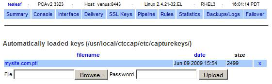 <CaptureKeys> <CaptureKey> <Label>Web1 Key </Label> <PriateKeyFile>/usr/local/ctccap/etc/web1.