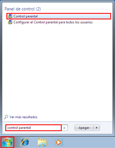 Para configurar el control parental, sigue estos pasos: Control Parental en Windows 7 1.