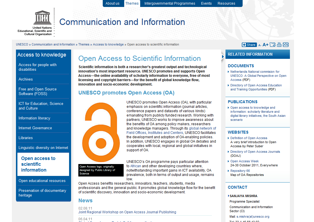 Global Open Access Portal (GOAP) http://www.unesco.
