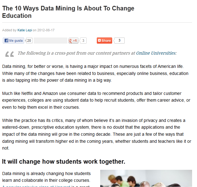 The 10 Ways Data Mining Is About To Change Education