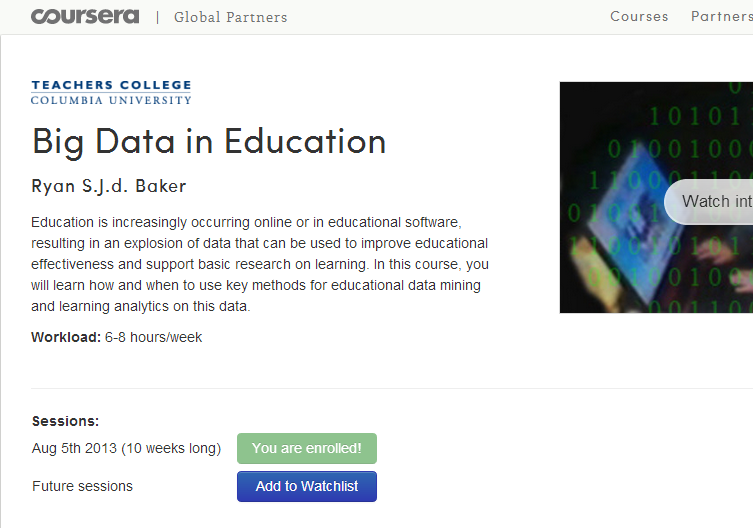 Coursera: Big Data in Education