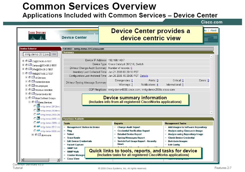 Capítulo VII Fig: 7.8: Diagrama de Operación de Device Center de CiscoWorks FUENTE: CiscoWorks Common Services v3.