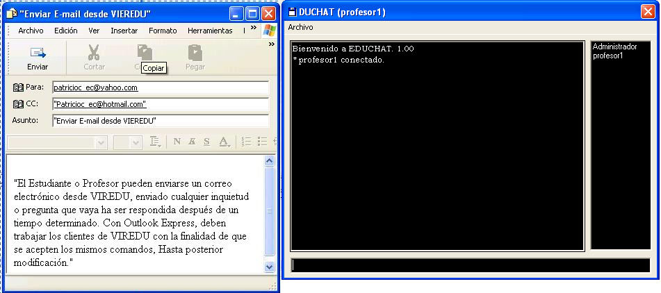 programa Microsoft Outlook (B), de igual manera dispone de un Chat denominado Educhat (A),