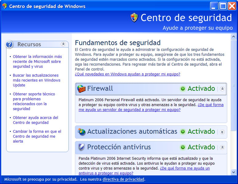 Seguridad local en Windows El Centro de Seguridad de Windows activa herramientas básicas como actualizaciones automáticas de parches del sistema,