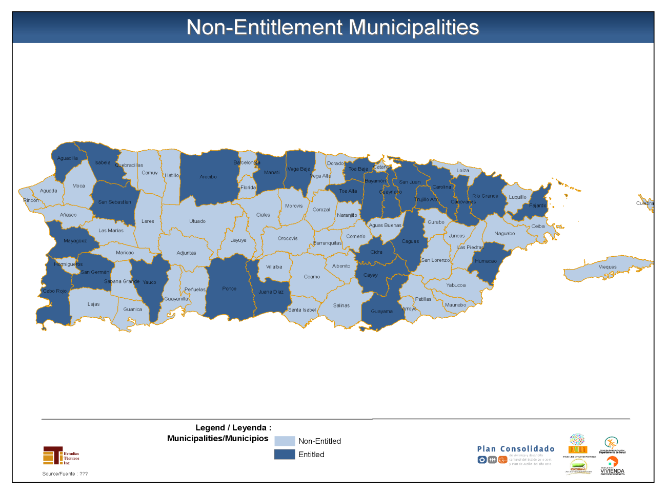 GEOGRAPHIC DISTRIBUTION The following figure presents the location of the 51 non-entitlement municipalities of Puerto Rico that we could classify as targeted areas within the non-entitlement