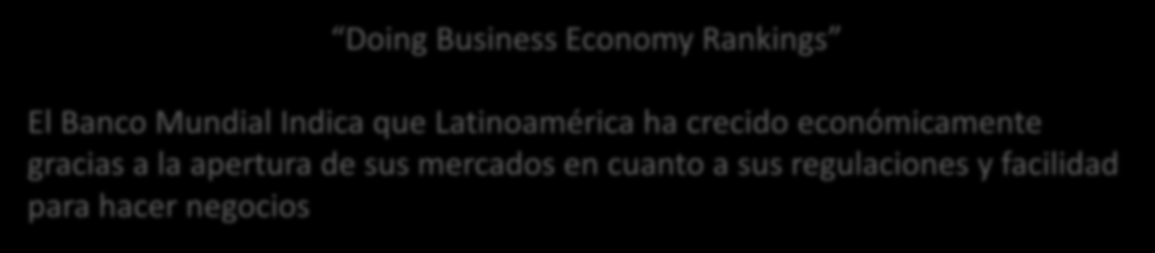 Retos y oportunidades Regulaciones e Infraestructura Doing Business Economy Rankings El Banco Mundial Indica que
