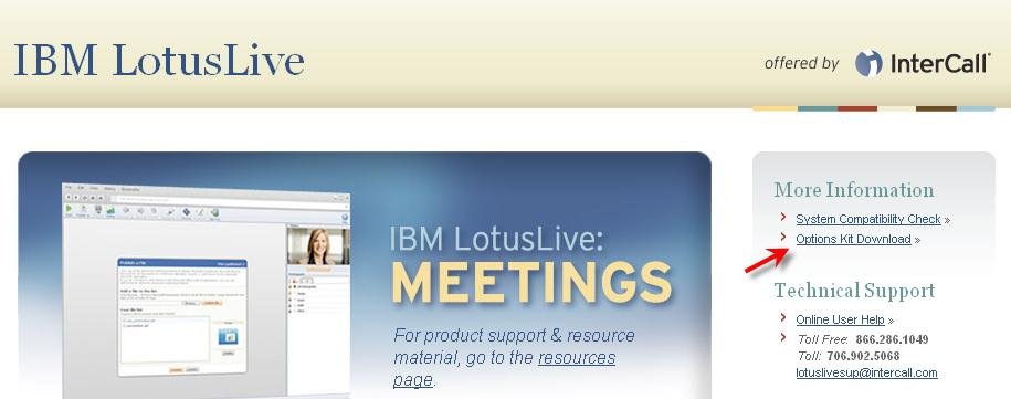 CONFERENCIAS Y COLABORACIÓN I N T E G R A C I Ó N C O N O U T L O O K IBM Lotus Live Integración con el Calendario de Outlook IBM LotusLive: Meetings, ofrecido por InterCall incluye la capacidad de