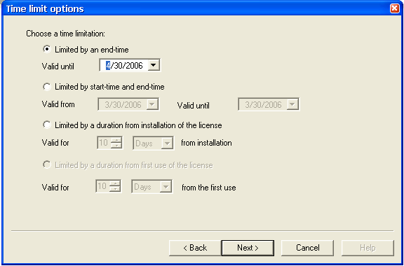 Select the option for the type of license that you need to create and click Next.