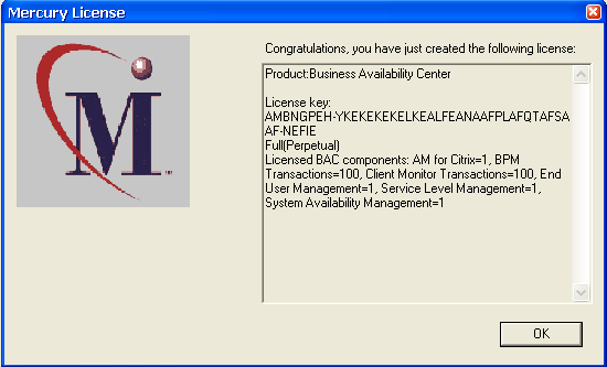 Then click Finish to generate the license Copy and paste all the information from this screen