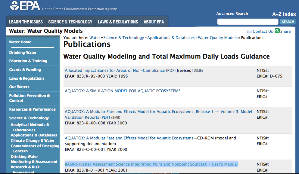 EPA BASIN* y AQUATOX ( * Better Assessment Science Integrating Point and Nonpoint Sources) Mejor Ciencia de