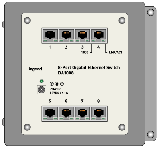 INSTRUCTION / INSTALLATION SHEET 8-Port Gigabit Switch (DA1008) 1. INTRODUCTION Legrand offers an 8-Port Gigabit Ethernet Switch (see Figure 1) which comes with eight independent 1000Mbps ports.