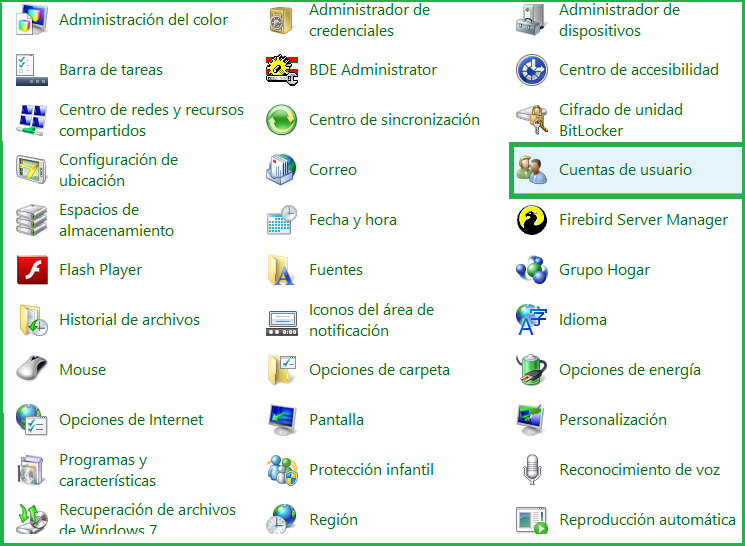 Configuración de cuentas de usuarios Esta configuración NO es necesaria en Windows XP, sólo aplica para Windows Vista, Windows 7, Win 8 y Windows Server 2003 o superior Para realizar esta