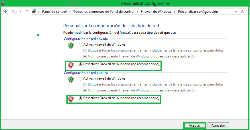 De esta manera, queda configurado su Firewall de Windows.