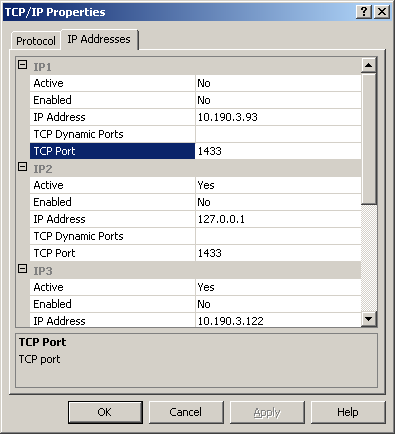 - SQL Server Network Configuration o Protocols for MSSQLSERVER TCP /IP y revisamos las propiedades En la pestaña del Protocolo, debe estar Habilitada (Enable) y en el siguiente tab de IP Address