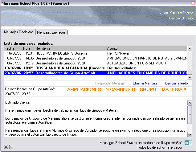 APLICATIVOS 01 - Update School Plus 02 - Messages School Plus 03 - ArteSoft School Plus 2006 04 - Componentes externos. Reportes integrados.