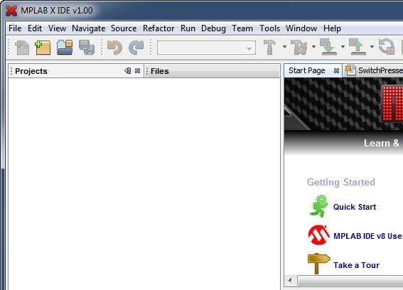Toolbar Abra el project wizard Trabajando con MPLAB X Wizard de proyectos Menu File New Project New
