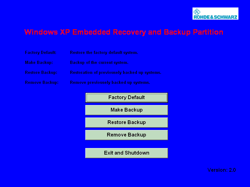 Installed Software Windows XP Recovery and Backup Partition To continue see one of the following chapters: The chapter 8.3.
