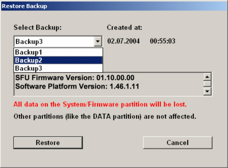 "Installed Software Windows XP Recovery and Backup Partition 2. Under ""Select Backup"", select the backup to be restored. 3. Click ""Restore"" and follow the instructions."