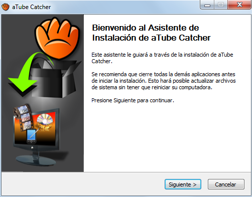 2. atube Catcher: herramienta para grabar videos de YouTube atube Catcher es una aplicación gratuita que permite descargar videos de sitios web Título como del documento YouTube, MySpace,
