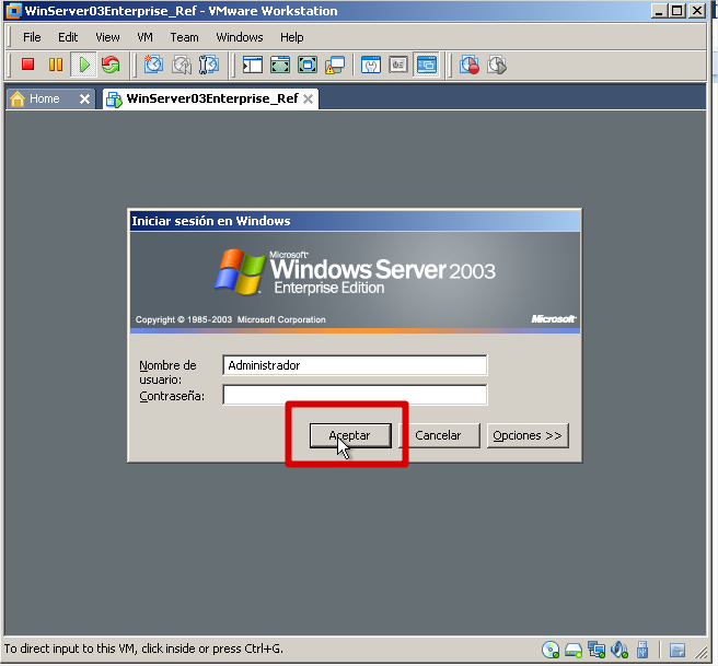 39. Ya finalizada la instalación, la maquina se reinicia y arranca por primera vez, Windows Server 2003 Enterprise Edition.
