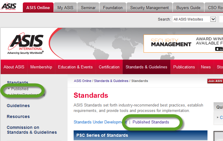 3. Choose Published standards. More than one link leads to the page listing the published documents.