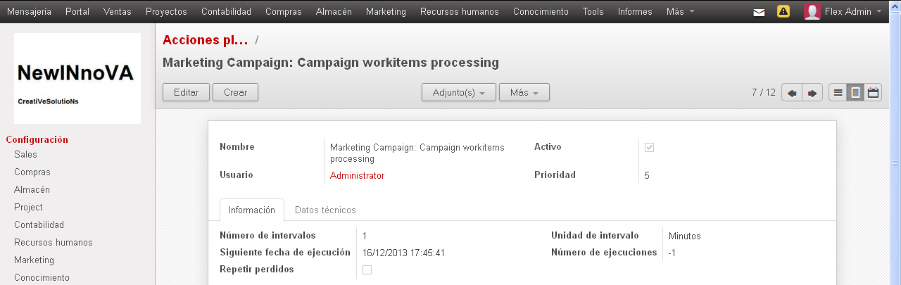 A continuación observamos de la lista los ítem Marketing campaings:campaings workitems processing y Email Queue Manager.