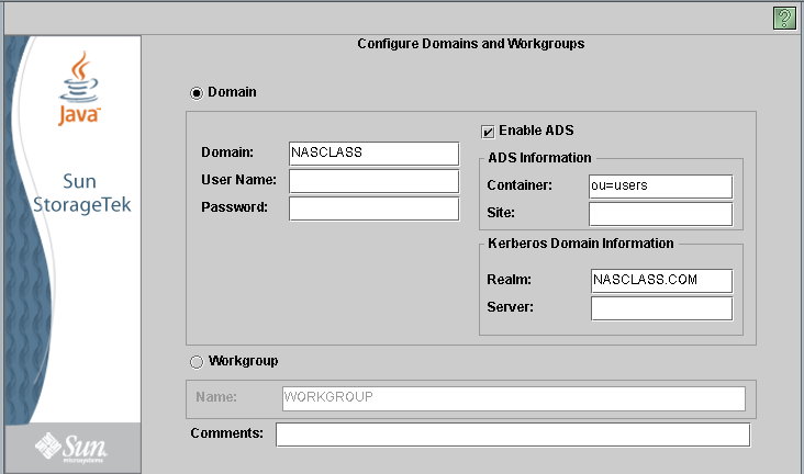 f. Si va a configurar un entorno de Windows: i. Seleccione Domain (Dominio) o Workgroup (Grupo de trabajo).