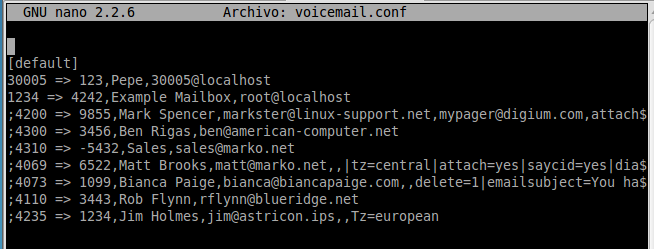 Figura 1. Archivo voicemail.conf EXTENSIONS.