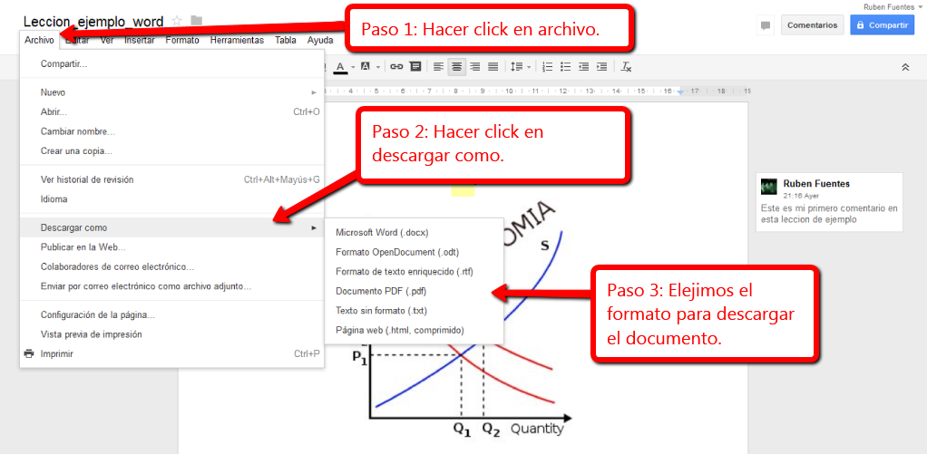 Google Docs-Descargar el documento Google Docs nos permite descargar los documentos en diferentes tipos de
