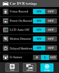 Vaya a la aplicación [Setup] (Configuración) [Car DVR Settings] (Ajustes de Car DVR) Turn on [Detector de movimiento] Active [Detector de movimiento]y pulse [Save] (Guardar). 3.