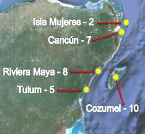 8 Isla Mujeres 2 2 Tulum 3 5 Total 27 Playas 32 Sitios NMP