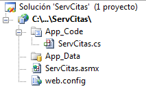 Y el servicio web llamado ahora ServCitas.cs así: using System; using System.Linq; using System.Web; using System.Web.Services; using System.Web.Services.Protocols; using System.Xml.