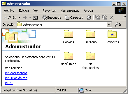 Folder (carpeta) Documents and settings Es importante resaltar que cada usuario