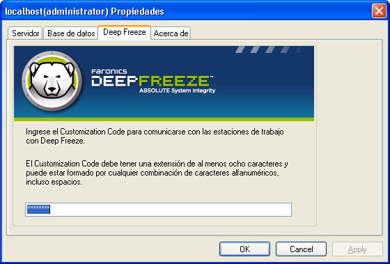 16 Instalación de Deep Freeze Customization Code El Customization Code se establece a través de Deep Freeze Configuration Administrator.